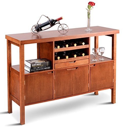 Giantex Sideboard Buffet Cabinet Wood Storage Table Dining Room Furniture Kitchen Server Siideboard Serving Coffee Wine Drawer Stand Cupboard Table W/Wine Rack, (3 Drawer Sideboard Server)