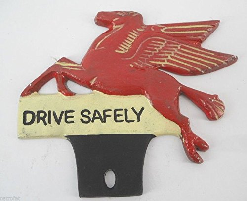 - Mobil License Plate Frame Tag Topper - Drive Safely Pegasus Red Flying Horse