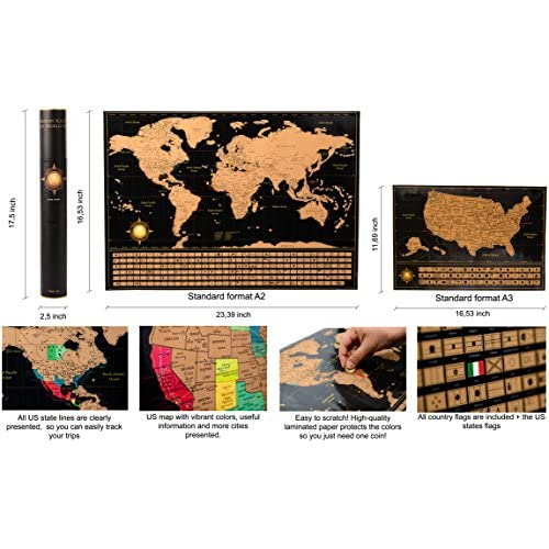 Scratch off world map poster deluxe united states map includes scratch off world map poster deluxe united states map includes complete accessories set gumiabroncs Choice Image