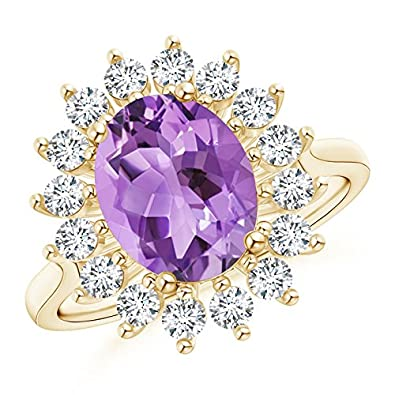 Angara Oval Amethyst and Diamond Floral Vintage Ring in Yellow Gold o3Xzye8iBs