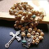 elegantmedical Catholic Rosary Bone Skull Flower Turquoise Beads Relic Cross Womens Mens