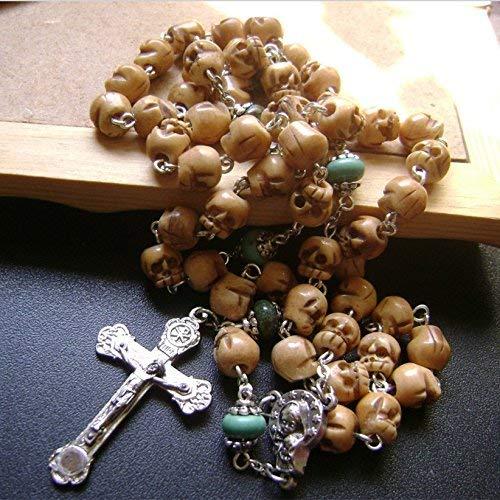 elegantmedical Catholic Rosary Bone Skull Flower Turquoise Beads Relic Cross Womens Mens by elegantmedical