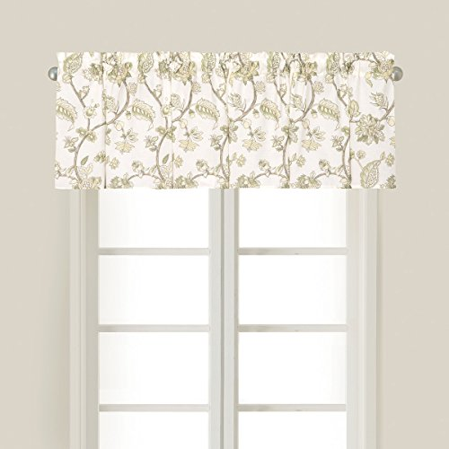 (C&F Home Port Royal Cream Floral Cotton Valance Valance Off-White,Green,Yellow,Brown,Tan )