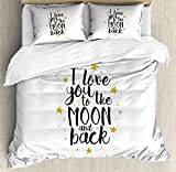 Ambesonne Love Duvet Cover Set Queen Size, I Love You To The Moon and Back Doodle Stars and Inspirational Valentine's Quote, Decorative 3 Piece Bedding Set with 2 Pillow Shams, Gold Black White,