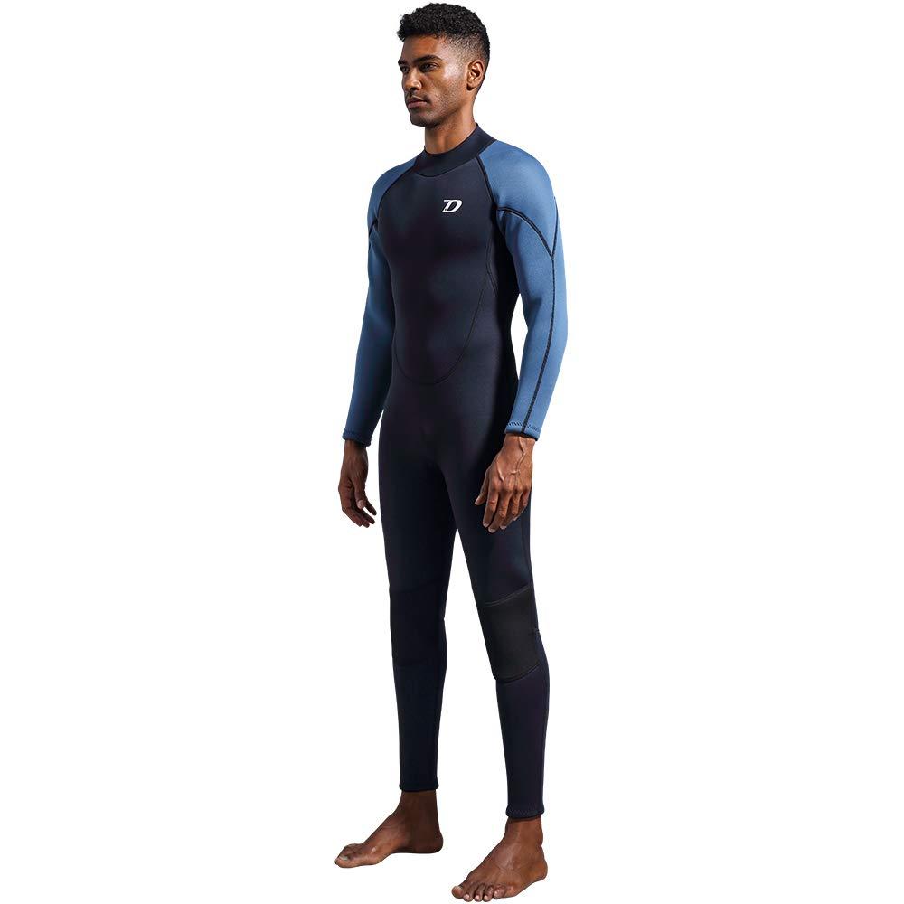 dark lightning Premium CR Neoprene Wetsuit, 2018 Mens Long Sleeves Scuba Diving Thermal Wet Suit in 3/3mm, Full Suit (Men's Large) by dark lightning