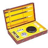 QTT Writing Brush, Four Treasure Gift Box Set, Writing Brush/Ink Pad/Pen Beginner Supplies