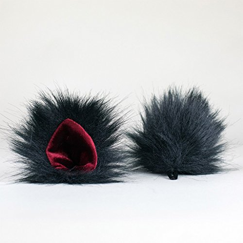 KritterKlips Official - Black & Red - Clip On Animal Ears