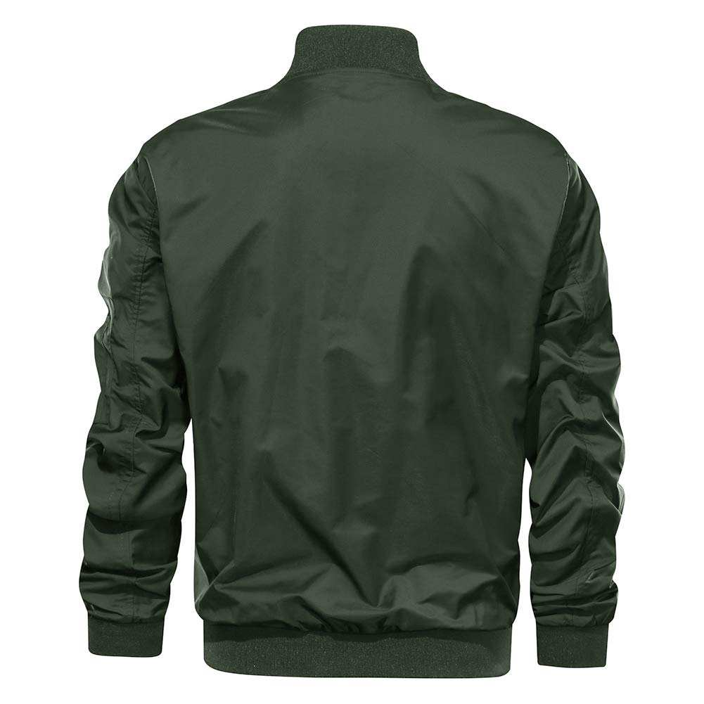 TACVASEN Mens Jacket-Lightweight Casual Spring Fall Flight Bomber Zip Pockets Coat Outwear