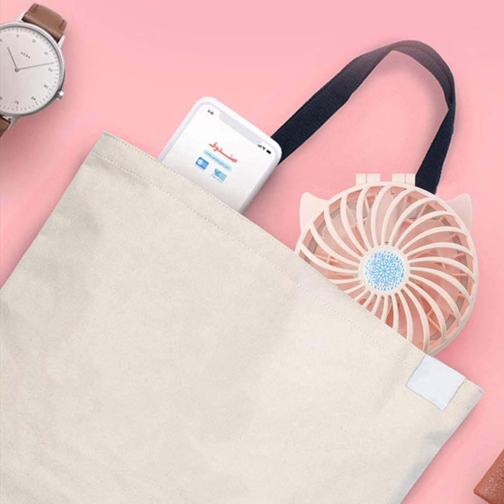Fanct Mini Pocket Fan Handheld Makeup Mirror Fold USB Fan with LED Fill Light for Office Travel Shopping