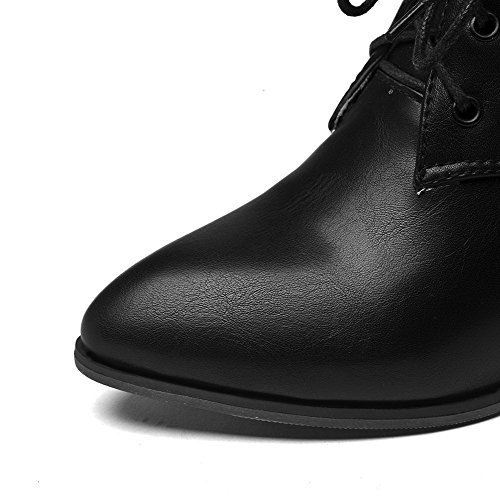 Pointed Boots Kitten Black Toe Heels AgooLar Women's Solid PU up Lace 4awzx5UqS