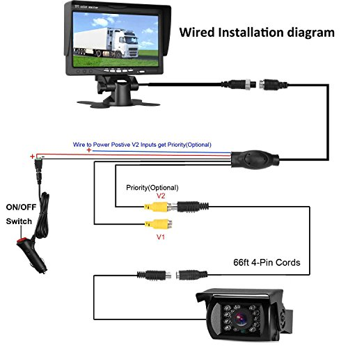 LeeKooLuu-Backup-Camera-and-7-Monitor-12V-24V-System-Kit-for-RVTruckCamperTrailerBus-Connecting-Single-Power-ContinuousReversing-Viewing-with-ONOff-Switch-IP68-Waterproof-IR-Night-Vision