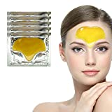 Cleansing Crystals Before Use - 24K Gold Collagen Forehead Masks Patches Set of 10pcs Golden Gel Crystal for Wrinkles Removing, Frown Lines Reduction, Deep Skin Pores Cleansing, Blemishes Blackheads Removal and Hydration