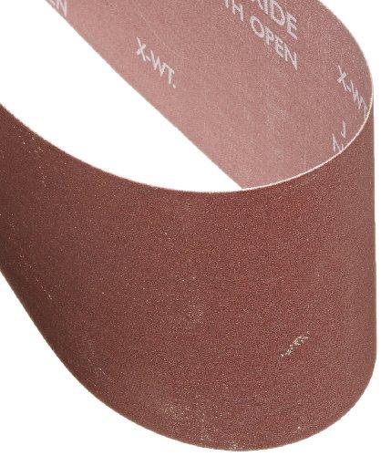 Norton 07660705285 Portable Abrasive Belt, Cotton Fiber Backing, Aluminum Oxide, 24'' Length x 4'' Width, Grit 180 Extra Fine (Pack of 5) by Norton Abrasives - St. Gobain (Image #1)