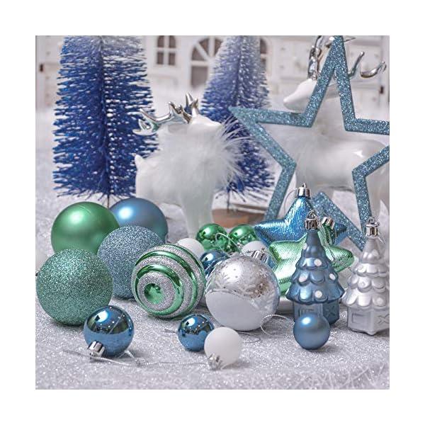 Valery Madelyn Palle di Natale 100 Pezzi di Palline di Natale, 3-5 cm Auguri Invernali Blu Verde e Nastro Infrangibile Ornamenti Palla di Natale Decorazione per Albero di Natale 7 spesavip