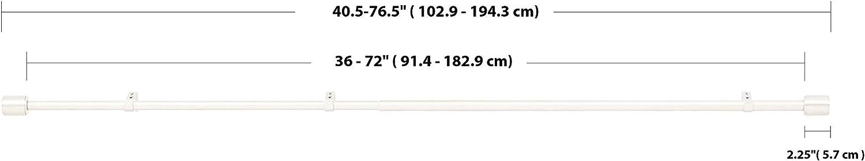 Basics Tringle /à rideaux 2,5 cm avec embouts de finition 91 /à 183 cm Noir anneaux 35,6/cm