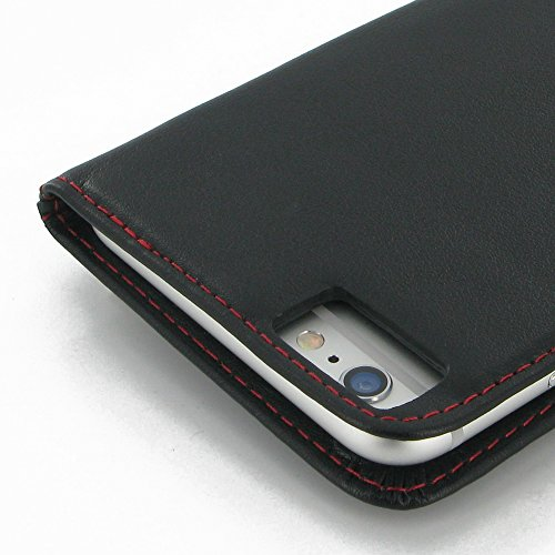 "Apple iPhone 6 Plus (5.5"") Deluxe Leather Case / Cover Protective Phone Case / Cover (Handmade Genuine Leather) - Book Case (Black/Red Stitchings) by Pdair"