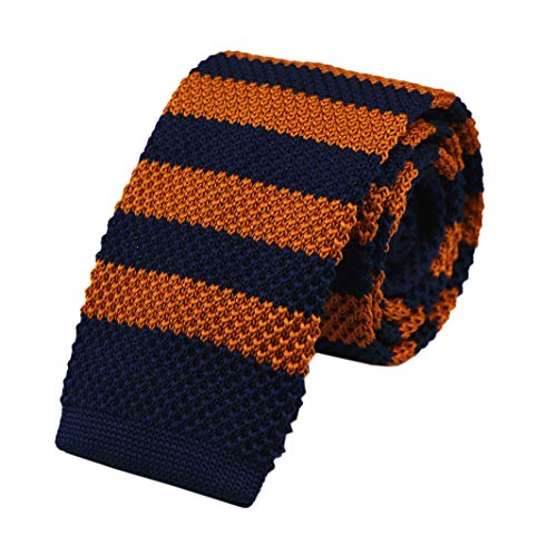 Men's Boys Navy Blue Copperr Knitted Neck Tie Accessory Formal Novelty Necktie For Marriage Skinny Neck Tie