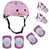 Toys : Lanova Kids Adjustable Sports Protective Gear Set Safety Pad Safeguard (Helmet Knee Elbow Wrist) Roller Bicycle BMX Bike Skateboard Hoverboard and Other Extreme Sports Activities (Pink)