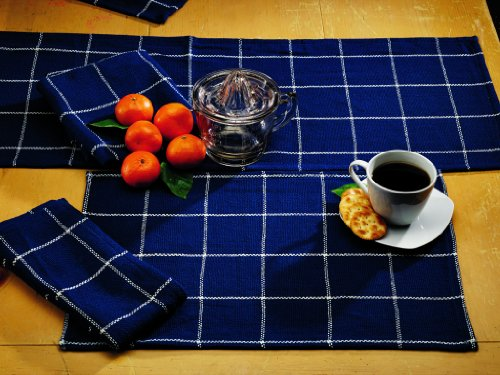 IHF Burlap Check Indigo Design Table Runner 100% Pure Cotton Fabric 13 Inches x 36 Inches Kitchen Dining Table Runners