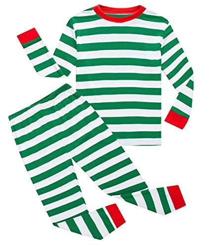 (Lymanchi Kid Boys Pajamas Christmas Cotton Striped Cute Unisex Sleepwear Set 2-7Y 145 Green)