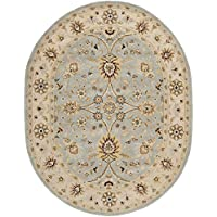 Safavieh Antiquities Collection AT249A Handmade Traditional Oriental Light Blue and Ivory Wool Oval Area Rug (46 x 66 Oval)