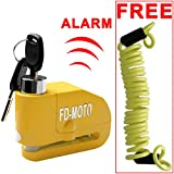 FD-MOTO LK603 Aluminium Alloy Alarm Disc Lock Motorbike Bike Bicycle Disc Lock ALARM + Free Reminder Cable 1.5M