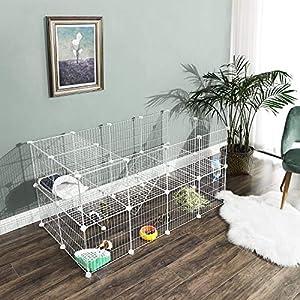 SONGMICS-Parque-para-Mascotas-2-Niveles-Jaula-Modular-para-Animales-Pequenos-Hamsters-Conejos-Cobayas-Paneles-de-Malla-Metalica-Uso-Interior-143-x-73-x-71-cm-Blanco-LPI02W