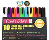 Fiona's Colors Wet Erase Non-Toxic Liquid Chalk Markers, 10 Assorted Neon Colors, 6mm Reversible Tip / 8g ink, For Use on Whiteboard, Chalkboard, Window, Glass