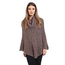 Ladies Cowl Neck Chunky Warm Cable Knit Poncho Onesize 6-16 (Onesize (6-16), Mustard)