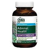 Gaia Herbs Adrenal Health Nightly Restore, Vegan Liquid Capsules, 120 Count – Calming Sleep and Stress Support, Ashwagandha, Reishi, Cordyceps, Lemon Balm