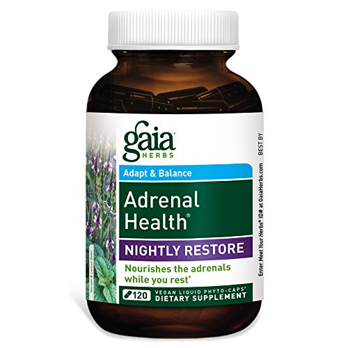 Gaia Herbs Adrenal Health Nightly Restore, Vegan Liquid Capsules, 120 Count - Calming Sleep and Stress Support, Ashwagandha, Reishi, Cordyceps, Lemon Balm
