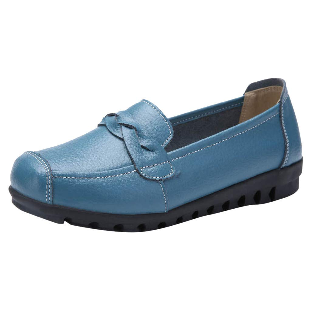 Mysky Fashion Women Classic Pure Color Round Toe Slip-On Shoes Flats Ladies Leisure Shallow Peas Boat Shoes