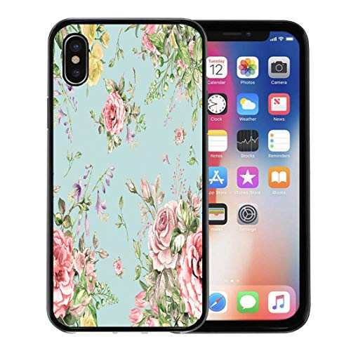 Semtomn Phone Case for Apple iPhone Xs case,Colorful Victorian Watercolor Luxury Bouquet Pink Flower Floral Pattern for iPhone X Case,Rubber Border Protective Case,Black