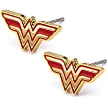 Official Stainless Steel Gold Tone Wonder Woman Logo Stud Earrings