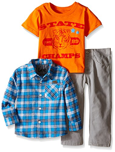LEE Little Boys' Toddler Flannel 3 Piece Twill Pant Set, Sleet, (Lee Jersey Shorts)
