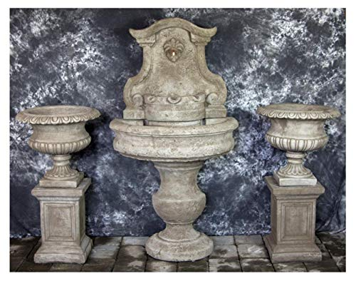 (Fleur de Lis Garden Ornaments LLC Palermo Wall Fountain with Italian Classic Urns and Pedestals Package Number 1051)