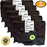 tze 231 brother - 5PK Great Quality Compatible For Brother P-Touch Laminated Tze Tz Label Tape Cartridge 12mmx8m (TZe-231 Black on White)