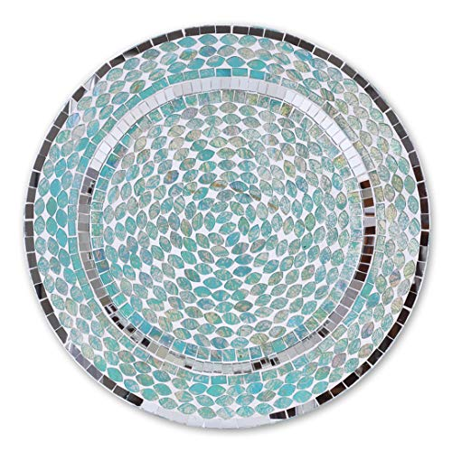 (Koyal Wholesale Mosaic Charger Plates, Ocean Mosaic Tiles Art Glass Charger Plates, Aqua Blue, Set of 4, Aqua Beach Dining Table Tabletop Home Decor, Wedding Supplies)