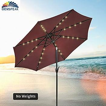 Dienspeak Deluxe Round Patio Umbrella With Solar Powered 32 LED Lights With  Tilt U0026 Crank,