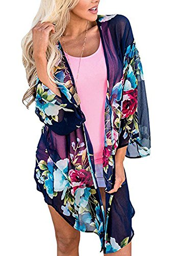 Navy Cardigan Suit (Yonala Women's Sexy Cardigan Blouse Bikini Swimwear Kimono Cover up Beach Dress (S, Navy Blue))