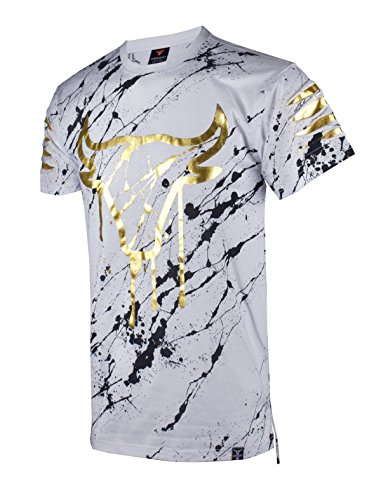 SCREENSHOTBRAND-S11820 Mens Hipster Hip-Hop Premiun Tees - Stylish Longline Latest Fashion Bull Print T-Shirts-White-Small
