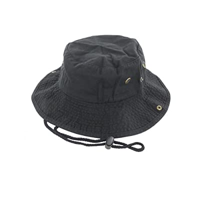 Black_(US Seller)Unisex Hat Wide Brim Hiking Bucket Safari Cap Outback