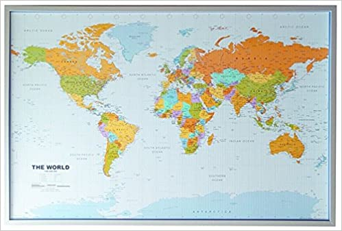 World map pinboard silver wood framed incl 12 flag pins amazon world map pinboard silver wood framed incl 12 flag pins amazon 9783980628471 books gumiabroncs Image collections