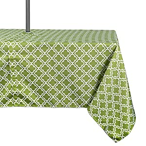"""DII 100% Polyester, Spill proof and Waterproof, Machine Washable, Outdoor Tablecloth With Zipper and Umbrella Hole, 60x84"""", Fresh Spring Lattice, Seats 6 to 8 People"""