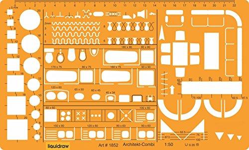 Liquidraw® Regla De Arquitecto De Escala 1:50, Regla Con Plantilla De Símbolos De Muebles Para El Plano Interior De Una…
