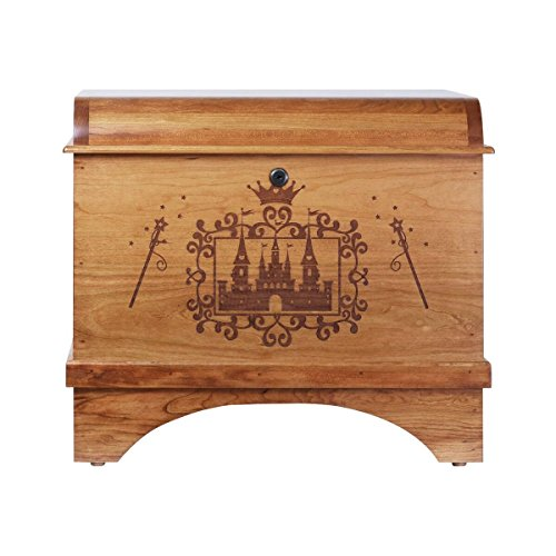 Toy Box Storage Hope Chest for Children's Birthday gift ideas for Daughter, Granddaughter, Grandchildren and Niece Made of Solid Cherry with lock Made in USA By Rooms Organized (Castle)