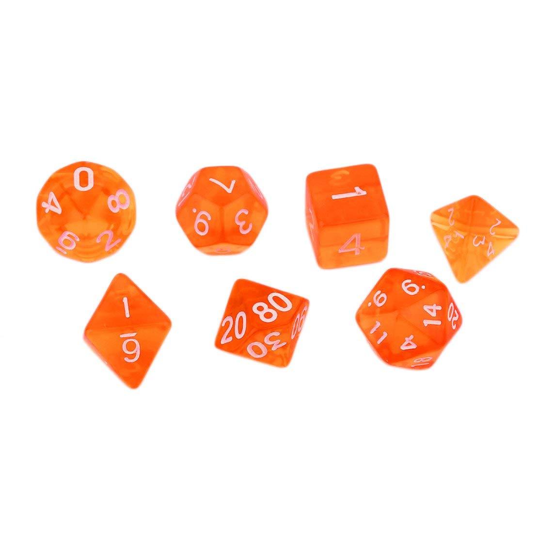 Sanzhileg Transparente helle Farbe 7 Stück Set kreative facettenreiche Dice16-20mm D4 D6 D8 D10 D12 D20 Spiel würfelt - Orange