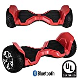 All Terrain Rugged 8.5' Inch Wheels Hoverboard Off-Road Smart Self Balancing Electric Scooter With Bluetooth Speaker LED Lights UL2272 Certified (Red)