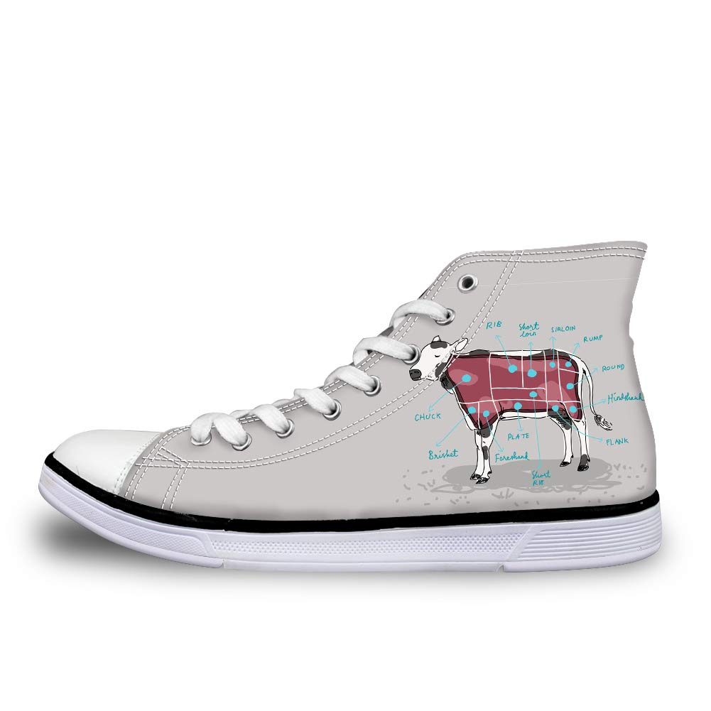 Canvas High Top Sneaker Casual Skate Shoe Mens Womens Cow Anatomy Beef Veal Map