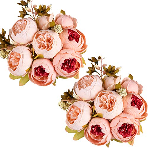 - Ogrmar Vintage Artificial Peony Silk Flowers Bouquet for Decoration (Light pink x2)